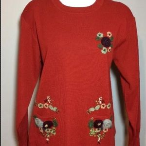 Vintage Autumn Creations Red Sweater With Pockets